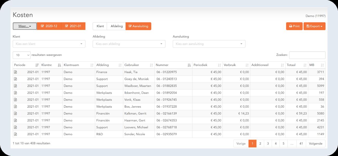 nobotel mobile portal kosten pagina met volledig overzicht per maand